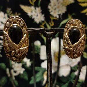 Vintage southwest onyx bronze oval cameo leaf gem